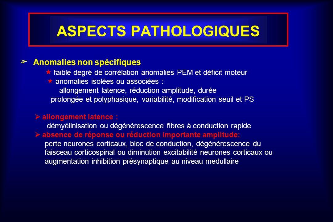 ASPECTS PATHOLOGIQUES Anomalies non spécifiques faible degré de corrélation anomalies PEM et déficit moteur anomalies isolées ou associées : allongement latence, réduction amplitude, durée prolongée et polyphasique, variabilité, modification seuil et PS allongement latence : démyélinisation ou dégénérescence fibres à conduction rapide absence de réponse ou réduction importante amplitude: perte neurones corticaux, bloc de conduction, dégénérescence du faisceau corticospinal ou diminution excitabilité neurones corticaux ou augmentation inhibition présynaptique au niveau medullaire