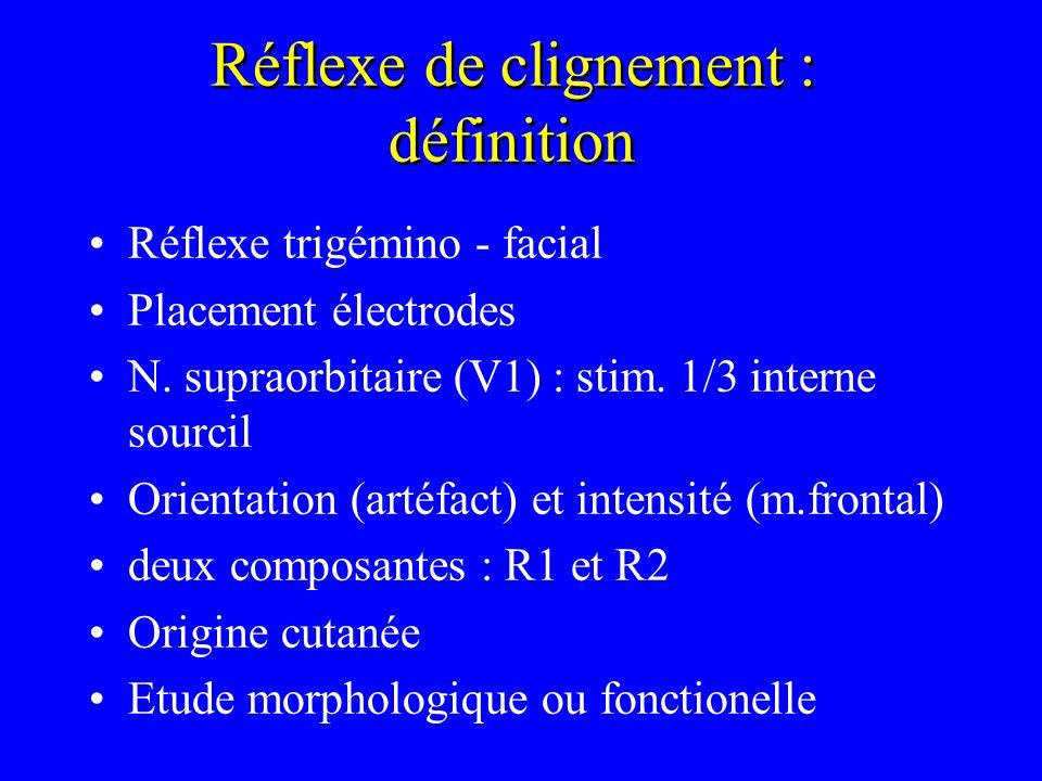 Réflexe de clignement : définition Réflexe trigémino - facial Placement électrodes N. supraorbitaire (V1) : stim. 1/3 interne sourcil Orientation (art