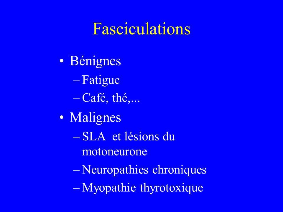 Fasciculations Bénignes –Fatigue –Café, thé,... Malignes –SLA et lésions du motoneurone –Neuropathies chroniques –Myopathie thyrotoxique