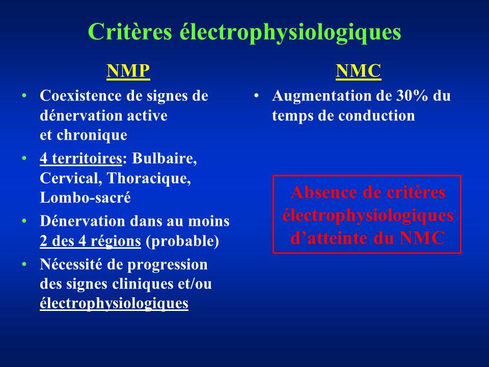 Critères électrophysiologiques NMP Coexistence de signes de dénervation active et chronique 4 territoires: Bulbaire, Cervical, Thoracique, Lombo-sacré Dénervation dans au moins 2 des 4 régions (probable) Nécessité de progression des signes cliniques et/ou électrophysiologiques NMC Augmentation de 30% du temps de conduction Absence de critères électrophysiologiques datteinte du NMC