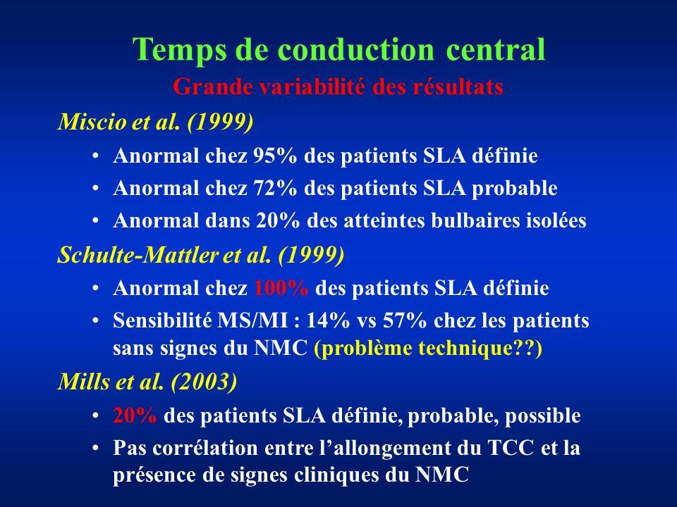 Grande variabilité des résultats Miscio et al.