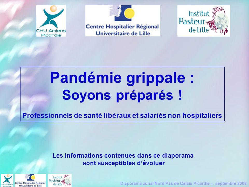 Diaporama zonal Nord Pas de Calais Picardie – septembre 2006 Pandémie grippale : Soyons préparés ! Professionnels de santé libéraux et salariés non ho