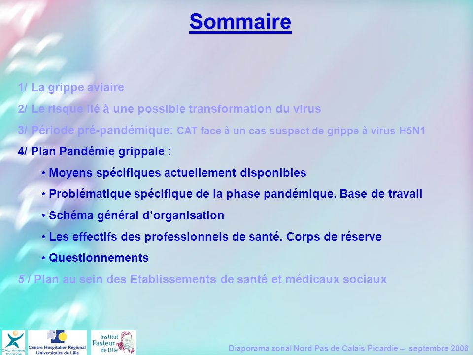 Diaporama zonal Nord Pas de Calais Picardie – septembre 2006 1/ La grippe aviaire 2/ Le risque lié à une possible transformation du virus 3/ Période p