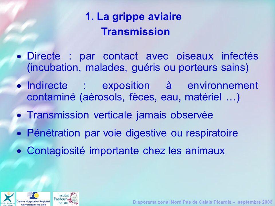Diaporama zonal Nord Pas de Calais Picardie – septembre 2006 Directe : par contact avec oiseaux infectés (incubation, malades, guéris ou porteurs sain