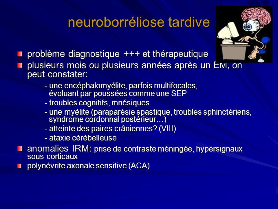 neuroborréliose tardive problème diagnostique +++ et thérapeutique plusieurs mois ou plusieurs années après un EM, on peut constater: - une encéphalom