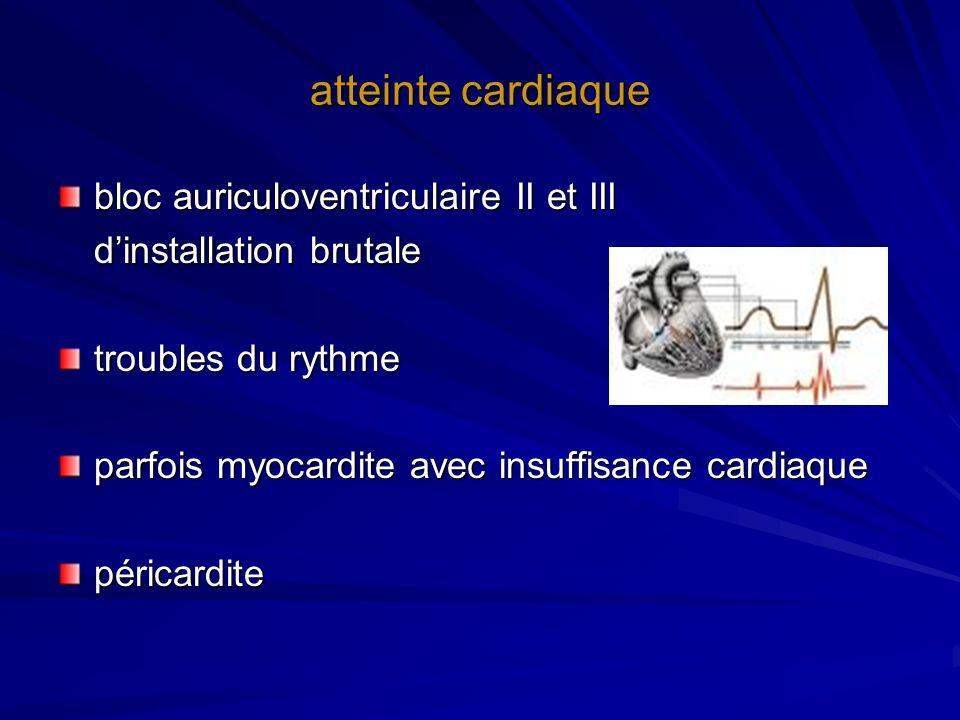 atteinte cardiaque bloc auriculoventriculaire II et III dinstallation brutale troubles du rythme parfois myocardite avec insuffisance cardiaque périca