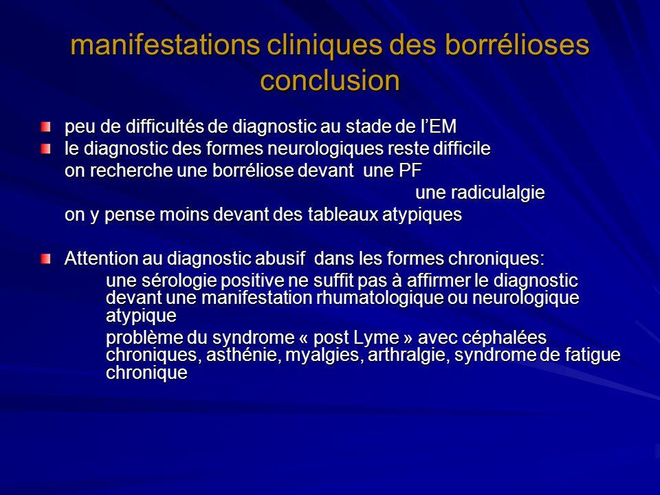 manifestations cliniques des borrélioses conclusion peu de difficultés de diagnostic au stade de lEM le diagnostic des formes neurologiques reste diff