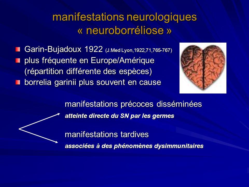 neuroborreliose précoce (1) la méningoradiculite - douleurs rachidiennes et/ou radiculalgie - insomniantes - résistantes aux antalgiques et AINS - souvent dans la zone métamérique de la piqûre mais non exclusivement mais non exclusivement - peut sétendre à plusieurs métamères - sous traitement, évolution assez rapidement favorable - sans traitement, régression lente des symptômes - diagnostic par létude du LCR