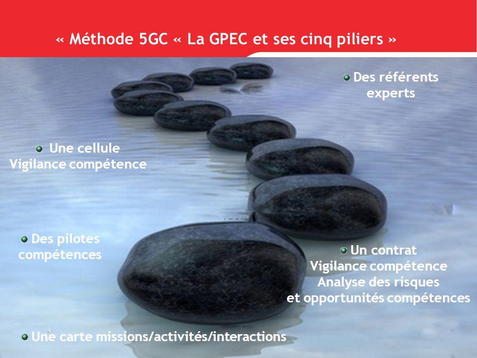 « Méthode 5GC « La GPEC et ses cinq piliers » Une cellule Vigilance compétence Des pilotes compétences Des référents experts Une carte missions/activi