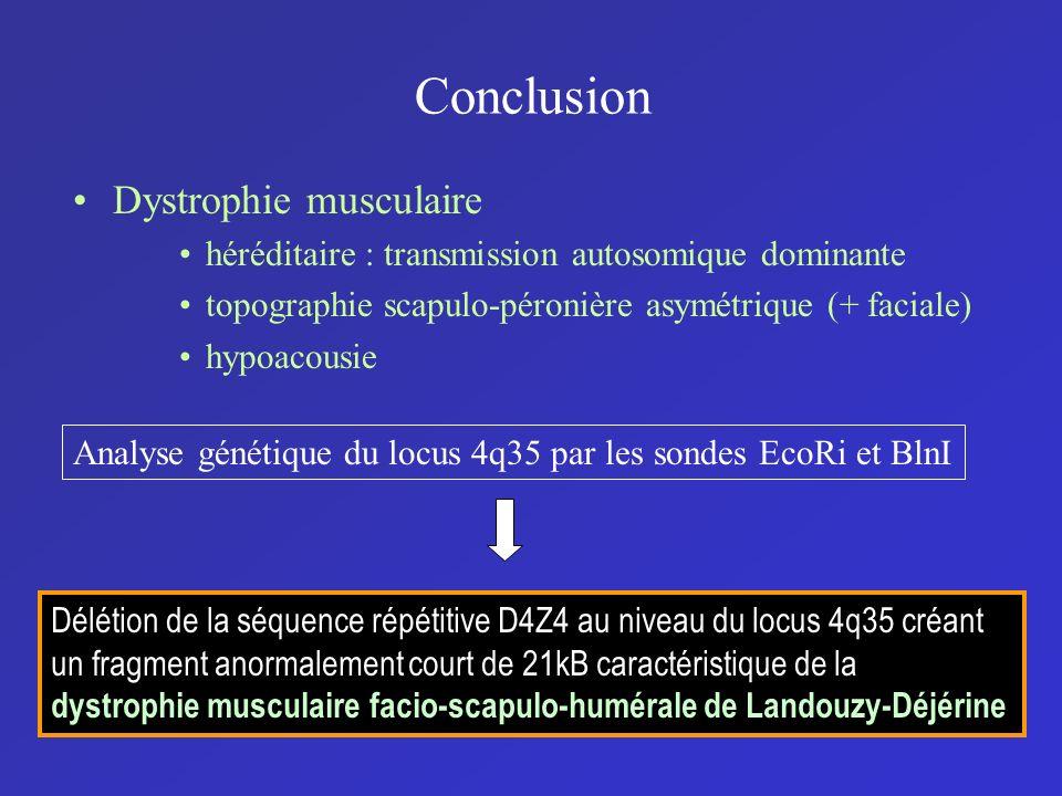 Conclusion Dystrophie musculaire héréditaire : transmission autosomique dominante topographie scapulo-péronière asymétrique (+ faciale) hypoacousie An