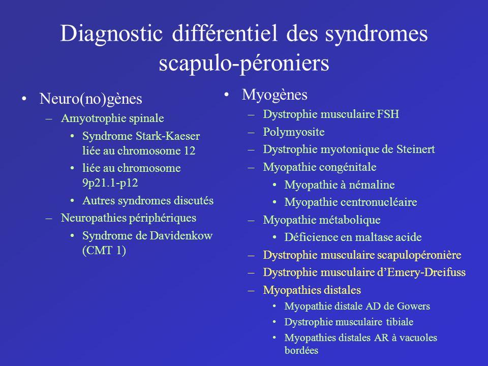 Diagnostic différentiel des syndromes scapulo-péroniers Neuro(no)gènes –Amyotrophie spinale Syndrome Stark-Kaeser liée au chromosome 12 liée au chromo