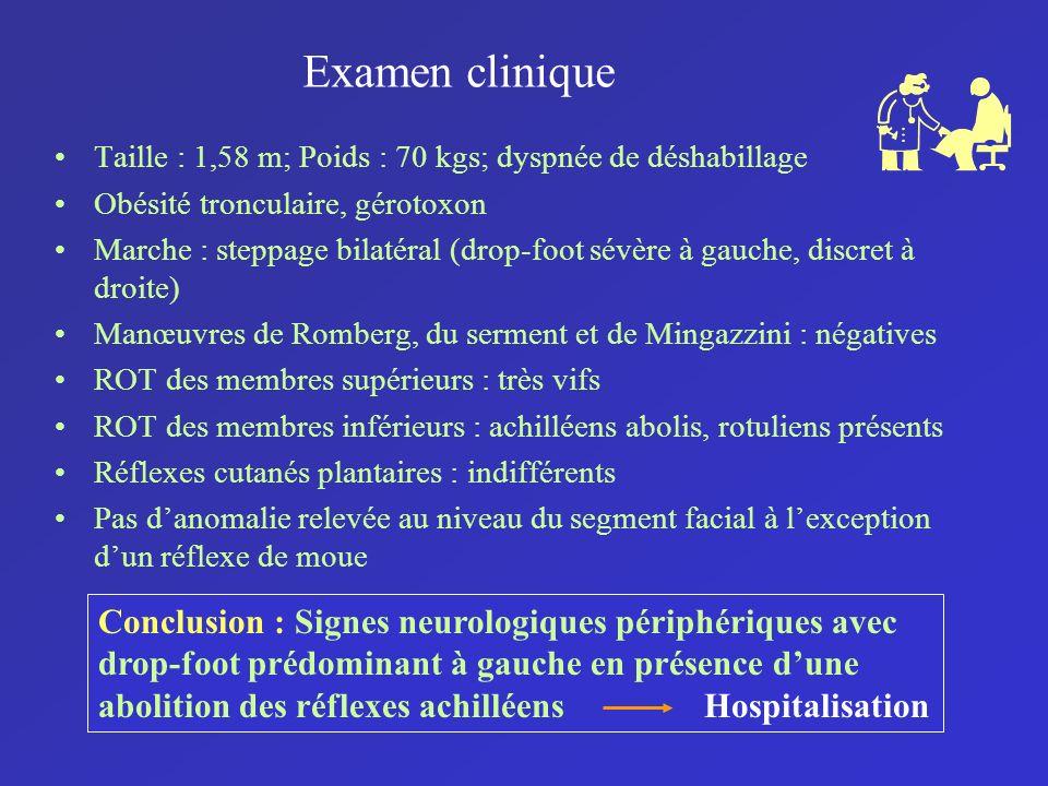 Examen clinique Taille : 1,58 m; Poids : 70 kgs; dyspnée de déshabillage Obésité tronculaire, gérotoxon Marche : steppage bilatéral (drop-foot sévère