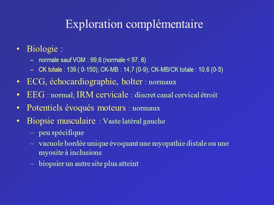 Exploration complémentaire Biologie : –normale sauf VGM : 99,6 (normale < 97, 8) –CK totale : 139 ( 0-150); CK-MB : 14,7 (0-9); CK-MB/CK totale : 10,6