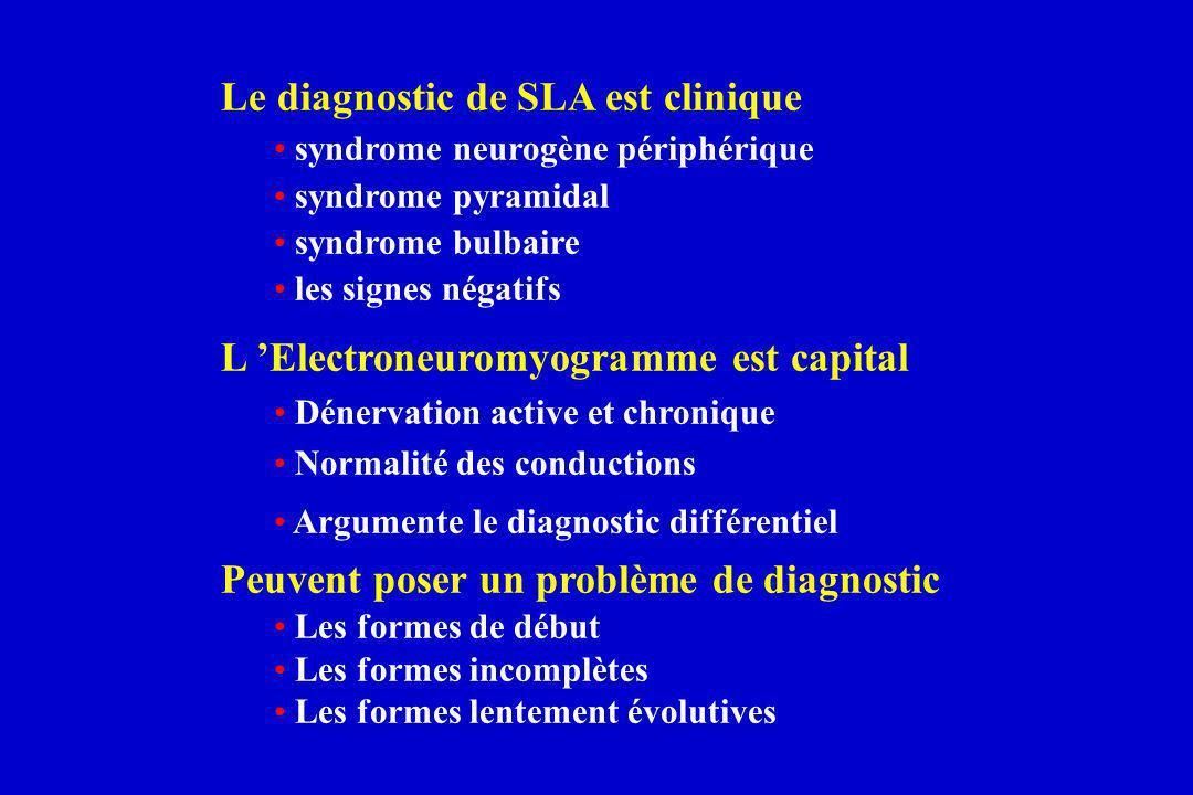 Le diagnostic de SLA est clinique syndrome neurogène périphérique syndrome pyramidal syndrome bulbaire les signes négatifs L Electroneuromyogramme est