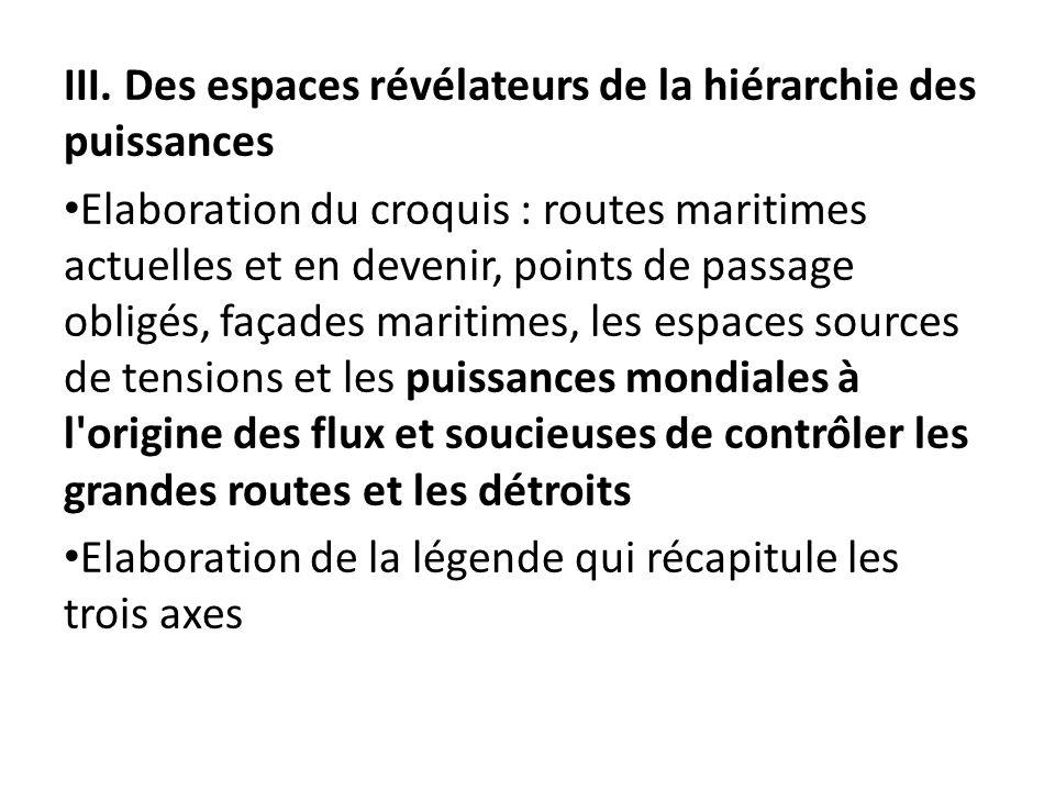 III. Des espaces révélateurs de la hiérarchie des puissances Elaboration du croquis : routes maritimes actuelles et en devenir, points de passage o