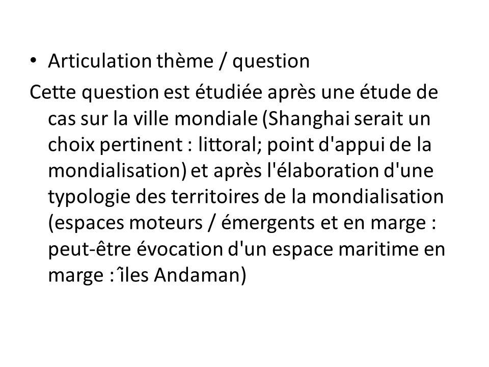 Articulation thème / question Cette question est étudiée après une étude de cas sur la ville mondiale (Shanghai serait un choix pertinent : litto