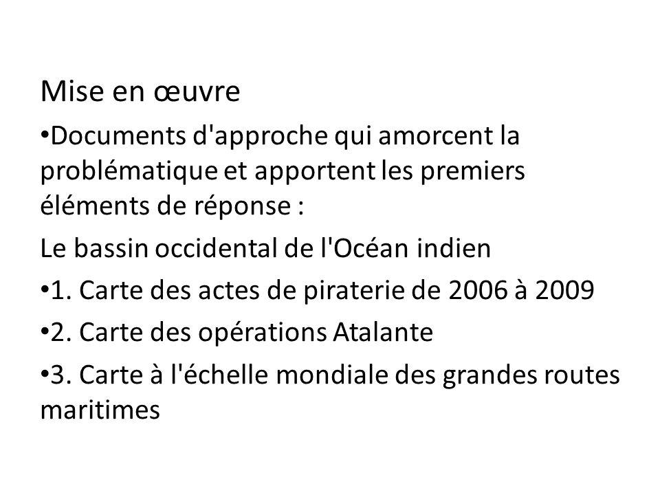 Mise en œuvre Documents d'approche qui amorcent la problématique et apportent les premiers éléments de réponse : Le bassin occidental de l'Océan