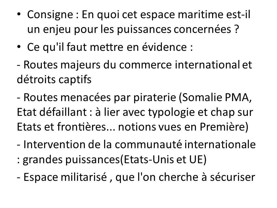 Consigne : En quoi cet espace maritime est-il un enjeu pour les puissances concernées ? Ce qu'il faut mettre en évidence : - Routes majeurs du comme