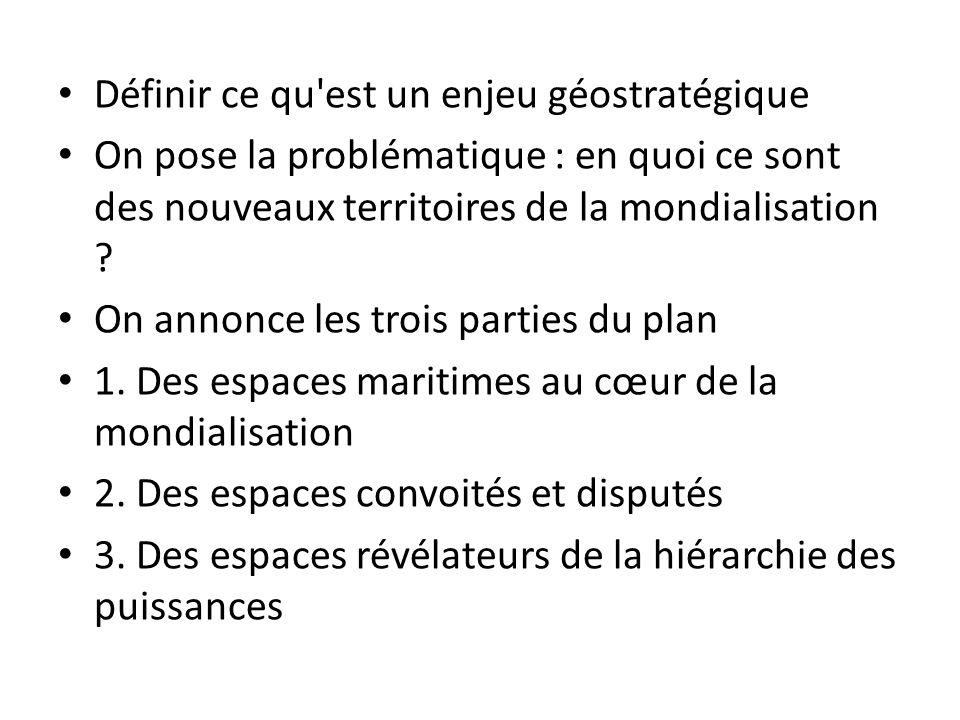 Définir ce qu'est un enjeu géostratégique On pose la problématique : en quoi ce sont des nouveaux territoires de la mondialisation ? On annonce le