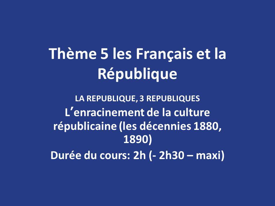 Thème 5 les Français et la République LA REPUBLIQUE, 3 REPUBLIQUES Lenracinement de la culture républicaine (les décennies 1880, 1890) Durée du cours: