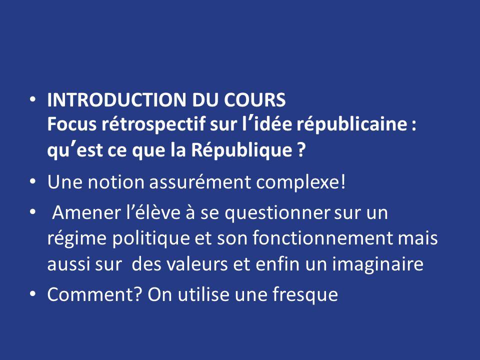 INTRODUCTION DU COURS Focus rétrospectif sur lidée républicaine : quest ce que la République ? Une notion assurément complexe! Amener lélève à se ques