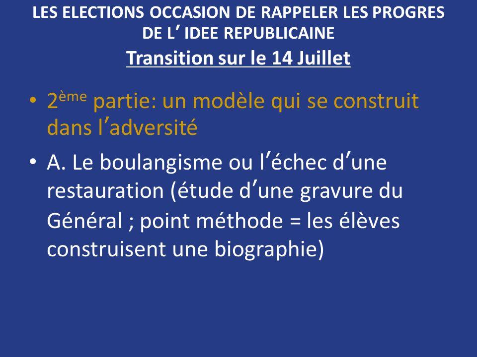 LES ELECTIONS OCCASION DE RAPPELER LES PROGRES DE L IDEE REPUBLICAINE Transition sur le 14 Juillet 2 ème partie: un modèle qui se construit dans ladve