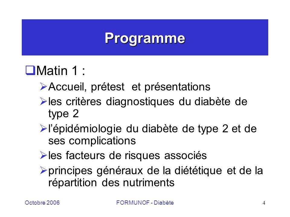 Octobre 2006FORMUNOF - Diabète4 Programme Matin 1 : Accueil, prétest et présentations les critères diagnostiques du diabète de type 2 lépidémiologie du diabète de type 2 et de ses complications les facteurs de risques associés principes généraux de la diététique et de la répartition des nutriments