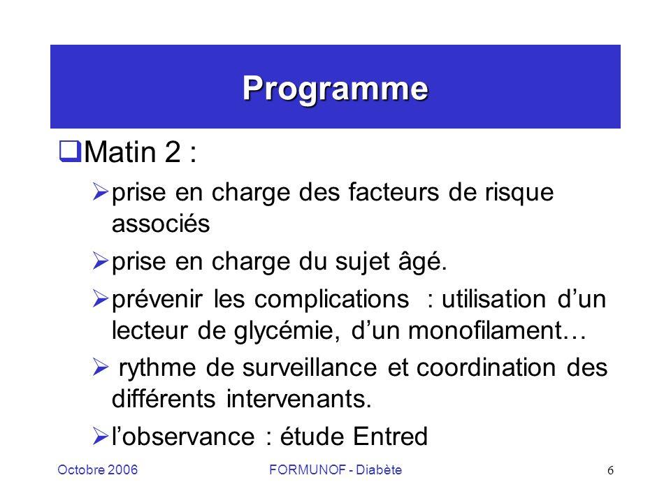 Octobre 2006FORMUNOF - Diabète6 Programme Matin 2 : prise en charge des facteurs de risque associés prise en charge du sujet âgé.