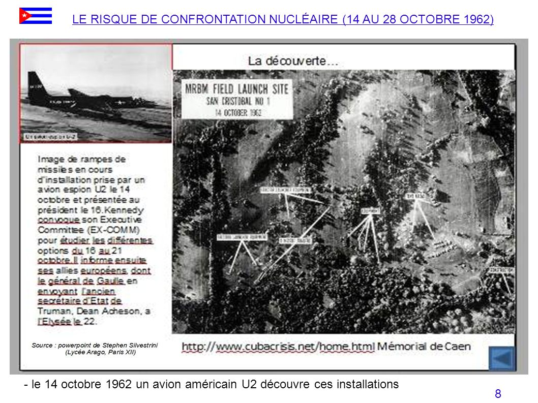 - le 14 octobre 1962 un avion américain U2 découvre ces installations LE RISQUE DE CONFRONTATION NUCLÉAIRE (14 AU 28 OCTOBRE 1962) 8