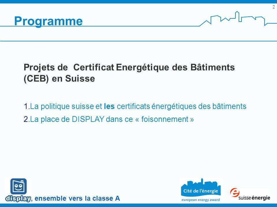 , ensemble vers la classe A 2 Programme Projets de Certificat Energétique des Bâtiments (CEB) en Suisse 1.La politique suisse et les certificats énerg