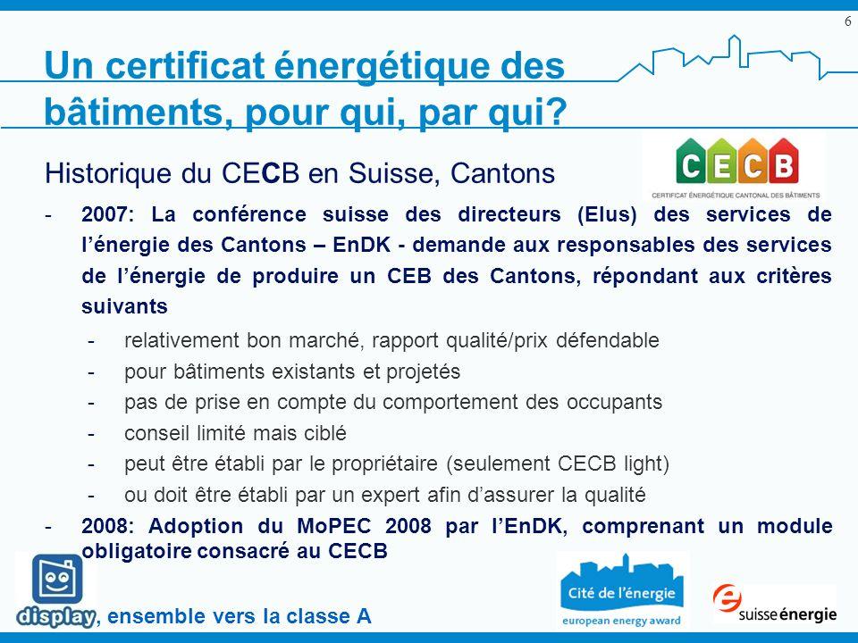 , ensemble vers la classe A 6 Historique du CECB en Suisse, Cantons -2007: La conférence suisse des directeurs (Elus) des services de lénergie des Can