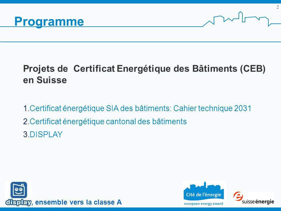 , ensemble vers la classe A 2 Programme Projets de Certificat Energétique des Bâtiments (CEB) en Suisse 1.Certificat énergétique SIA des bâtiments: Cahier technique 2031 2.Certificat énergétique cantonal des bâtiments 3.DISPLAY