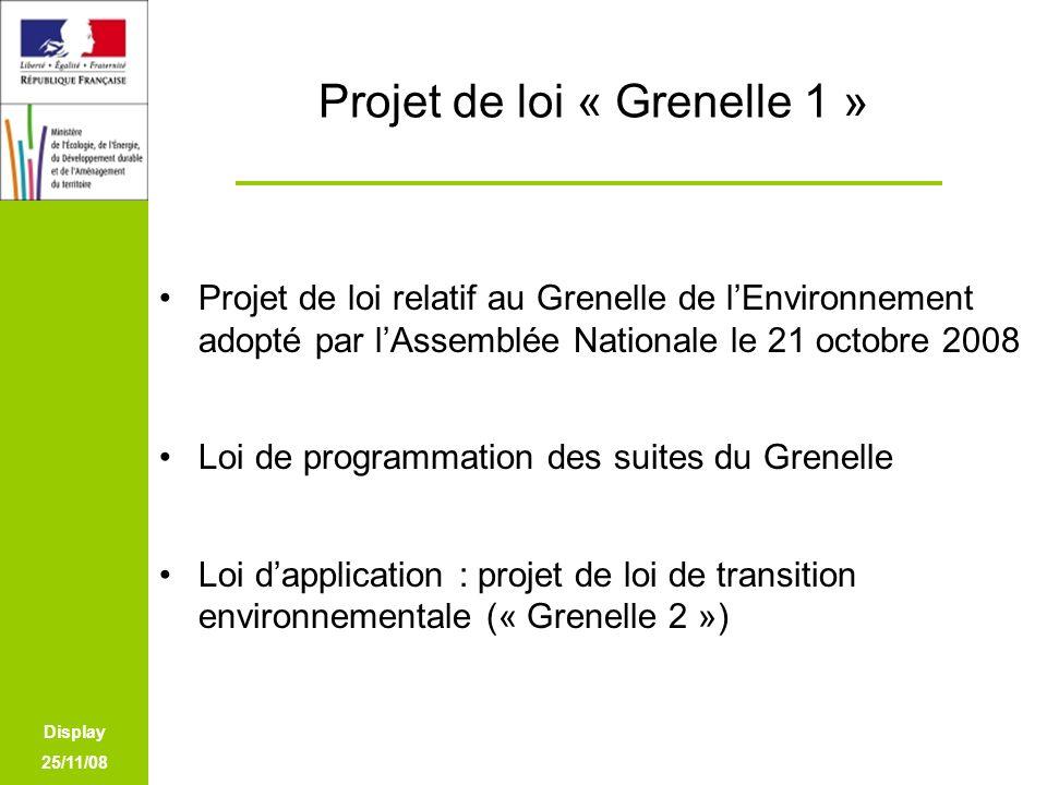 Display 25/11/08 Projet de loi « Grenelle 1 » Projet de loi relatif au Grenelle de lEnvironnement adopté par lAssemblée Nationale le 21 octobre 2008 L