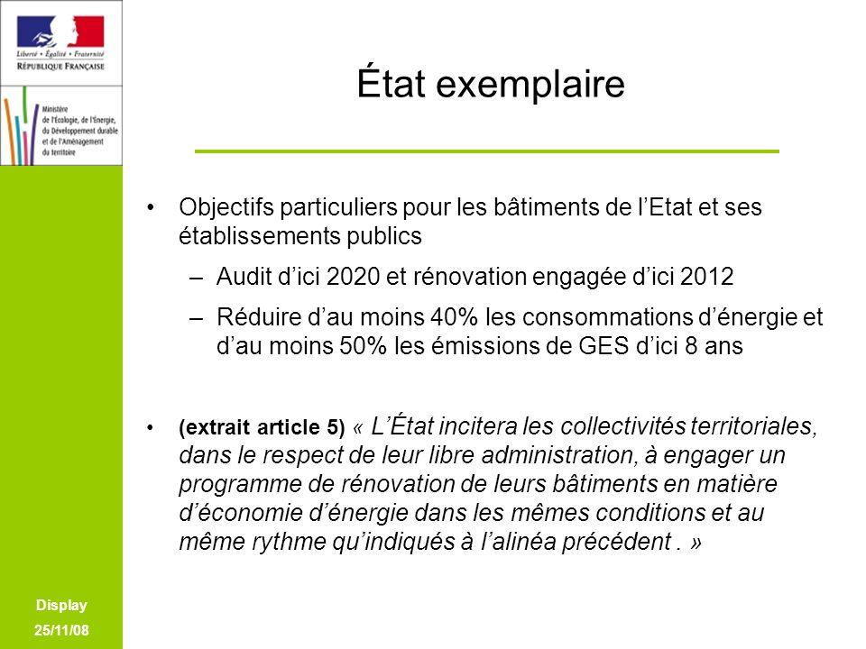 Display 25/11/08 État exemplaire Objectifs particuliers pour les bâtiments de lEtat et ses établissements publics –Audit dici 2020 et rénovation engag