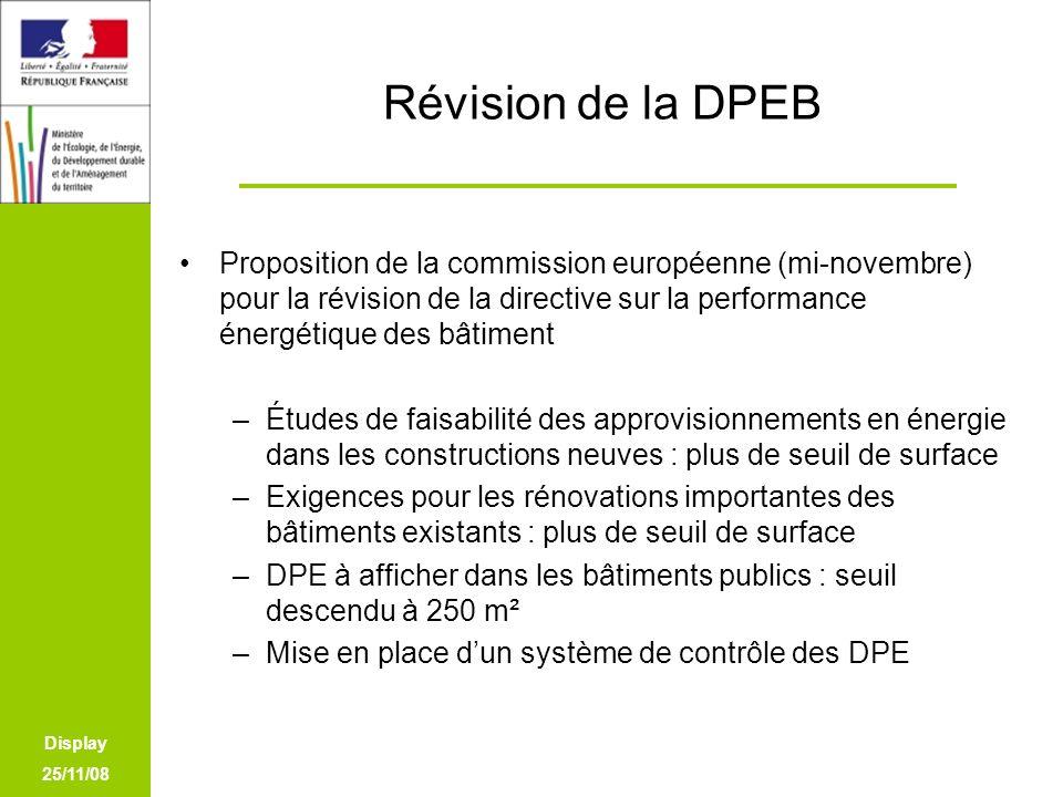 Display 25/11/08 Révision de la DPEB Proposition de la commission européenne (mi-novembre) pour la révision de la directive sur la performance énergét