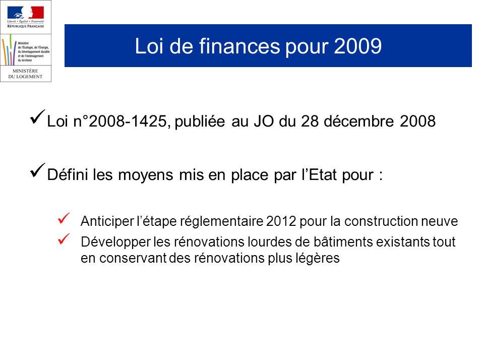 Loi de finances pour 2009 Loi n°2008-1425, publiée au JO du 28 décembre 2008 Défini les moyens mis en place par lEtat pour : Anticiper létape réglementaire 2012 pour la construction neuve Développer les rénovations lourdes de bâtiments existants tout en conservant des rénovations plus légères