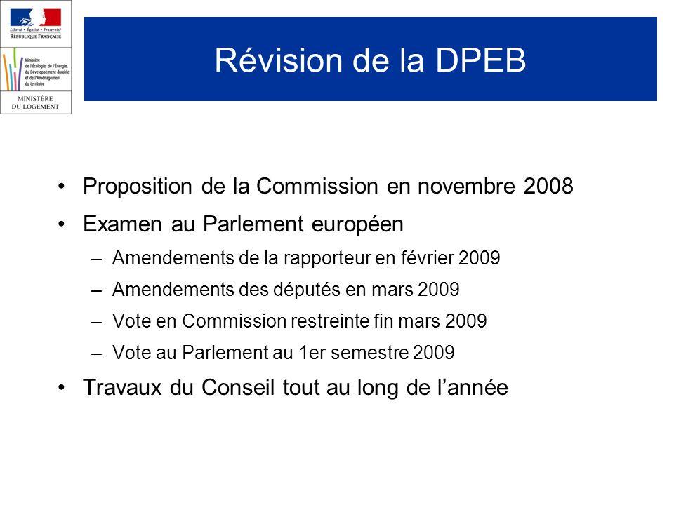 Révision de la DPEB Proposition de la Commission en novembre 2008 Examen au Parlement européen –Amendements de la rapporteur en février 2009 –Amendements des députés en mars 2009 –Vote en Commission restreinte fin mars 2009 –Vote au Parlement au 1er semestre 2009 Travaux du Conseil tout au long de lannée