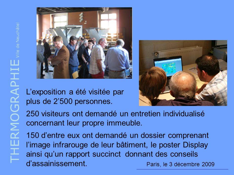 THERMOGRAPHIE Ville de Neuchâtel Paris, le 3 décembre 2009 Lexposition a été visitée par plus de 2500 personnes. 250 visiteurs ont demandé un entretie