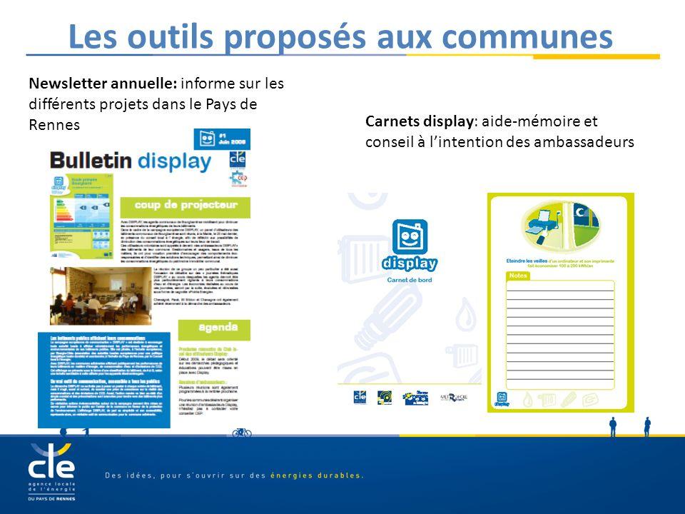Les outils proposés aux communes Newsletter annuelle: informe sur les différents projets dans le Pays de Rennes Carnets display: aide-mémoire et conse