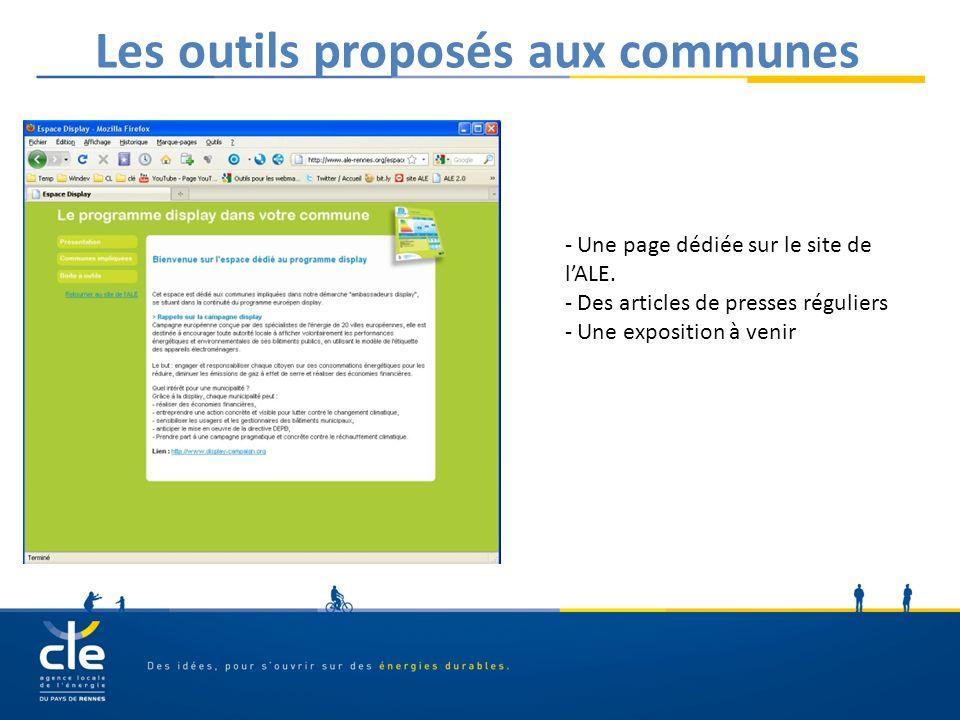Les outils proposés aux communes - Une page dédiée sur le site de lALE. - Des articles de presses réguliers - Une exposition à venir