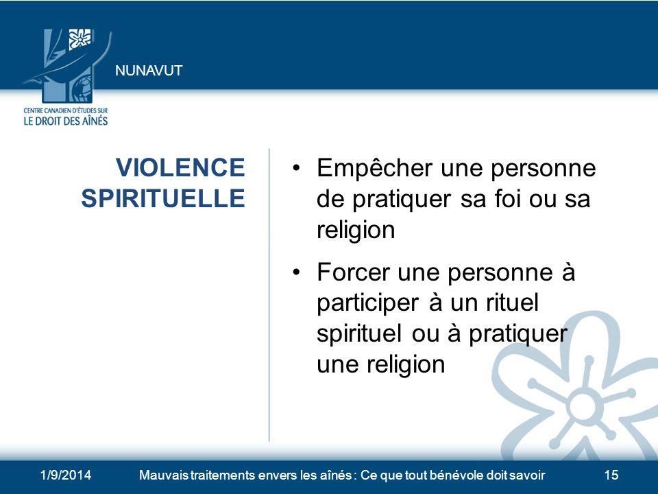 1/9/2014Mauvais traitements envers les aînés : Ce que tout bénévole doit savoir14 VIOLENCE CHIMIQUE Surmédication Privation de médicaments nécessaires