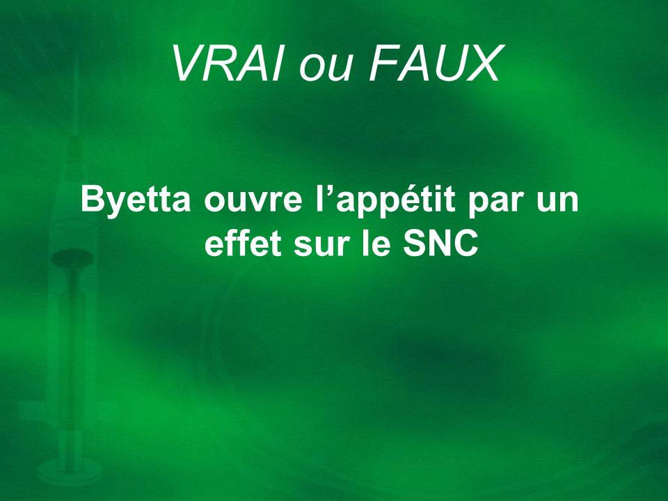 Byetta ouvre lappétit par un effet sur le SNC VRAI ou FAUX