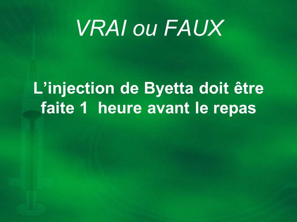 Linjection de Byetta doit être faite 1 heure avant le repas VRAI ou FAUX