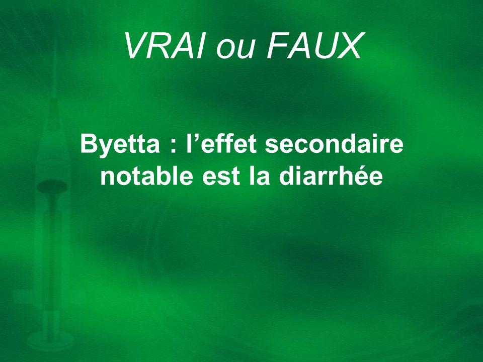 Byetta : leffet secondaire notable est la diarrhée VRAI ou FAUX