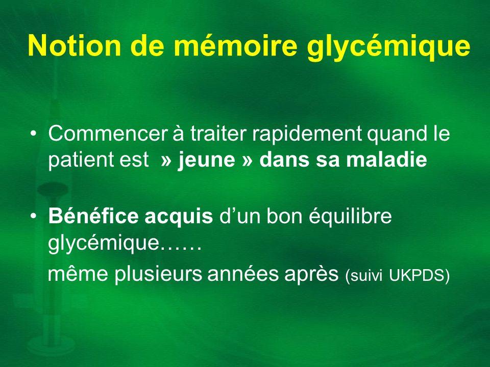 Notion de mémoire glycémique Commencer à traiter rapidement quand le patient est » jeune » dans sa maladie Bénéfice acquis dun bon équilibre glycémiqu