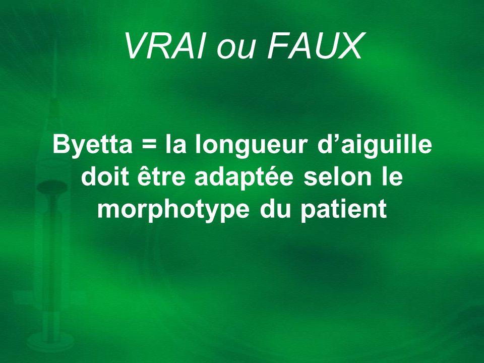 Byetta = la longueur daiguille doit être adaptée selon le morphotype du patient VRAI ou FAUX