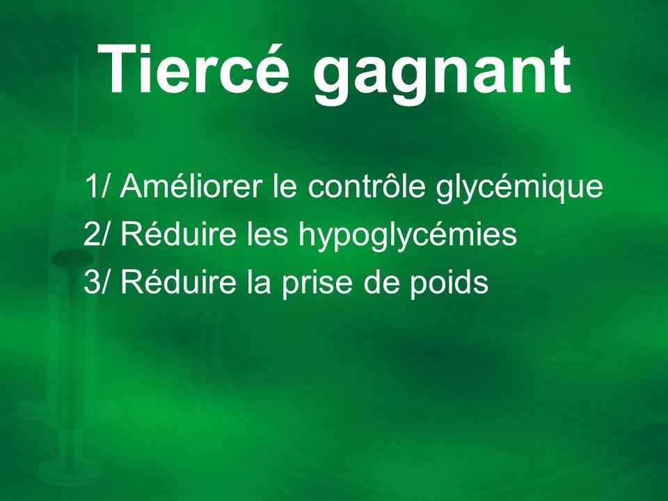 Tiercé gagnant 1/ Améliorer le contrôle glycémique 2/ Réduire les hypoglycémies 3/ Réduire la prise de poids