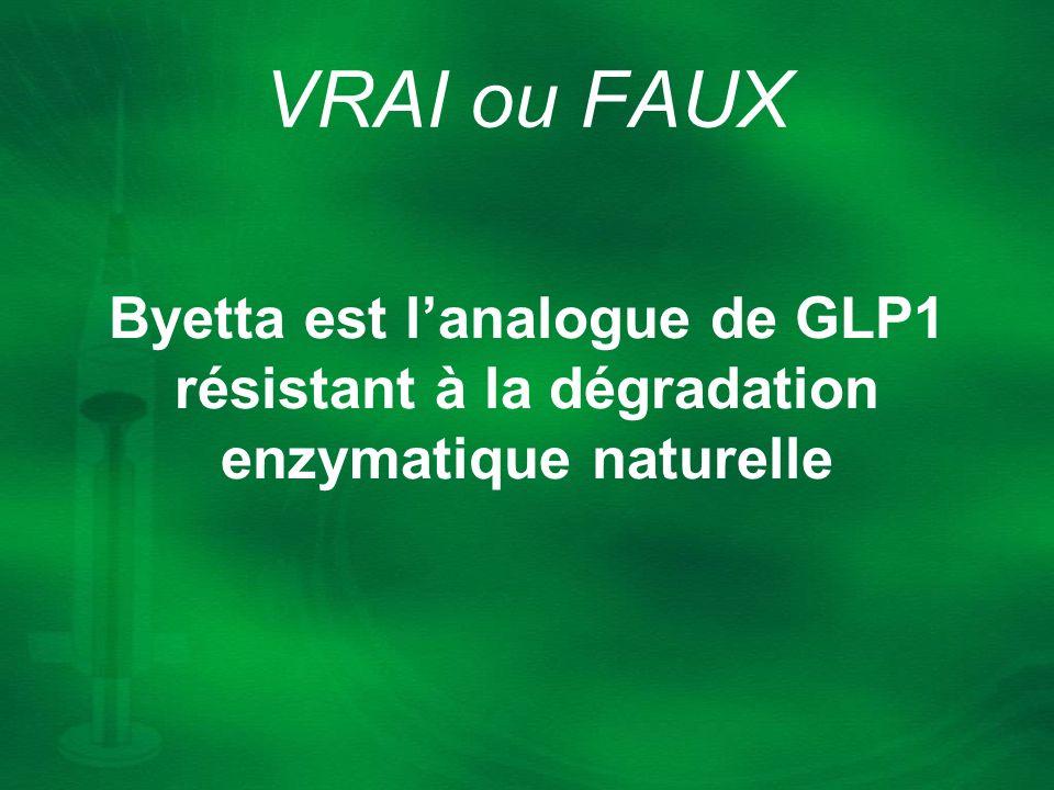 Byetta est lanalogue de GLP1 résistant à la dégradation enzymatique naturelle VRAI ou FAUX