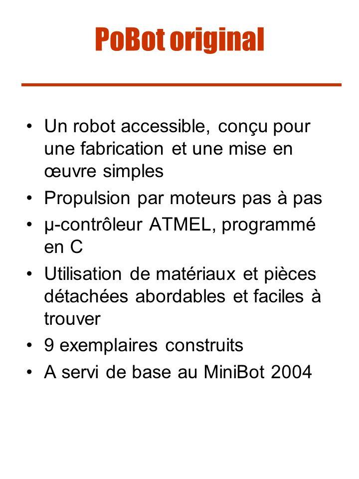 PoBot original Un robot accessible, conçu pour une fabrication et une mise en œuvre simples Propulsion par moteurs pas à pas µ-contrôleur ATMEL, progr