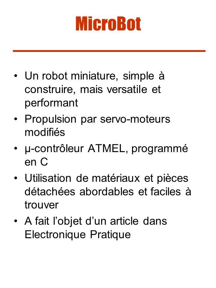 MicroBot Un robot miniature, simple à construire, mais versatile et performant Propulsion par servo-moteurs modifiés µ-contrôleur ATMEL, programmé en